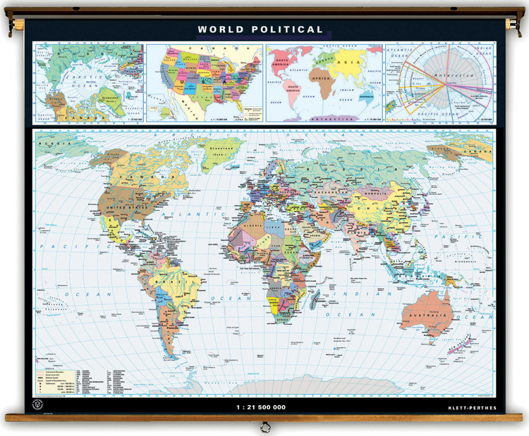 Advanced World Political Map on Spring Roller from Klett-Perthes
