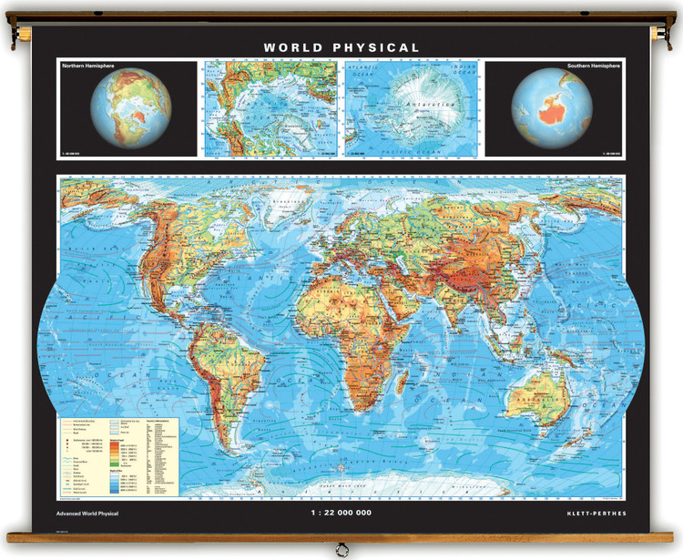 Advanced World Physical Map on Spring Roller from Klett-Perthes