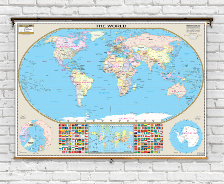 Oversized World Political Map on Spring Roller from Kappa Maps