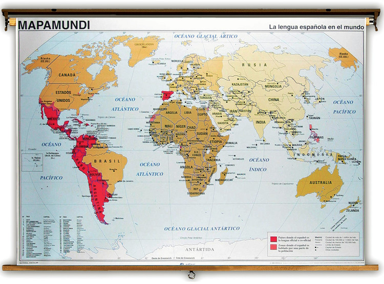 Spanish Speaking Countries World Map / Physical Map from Edigol
