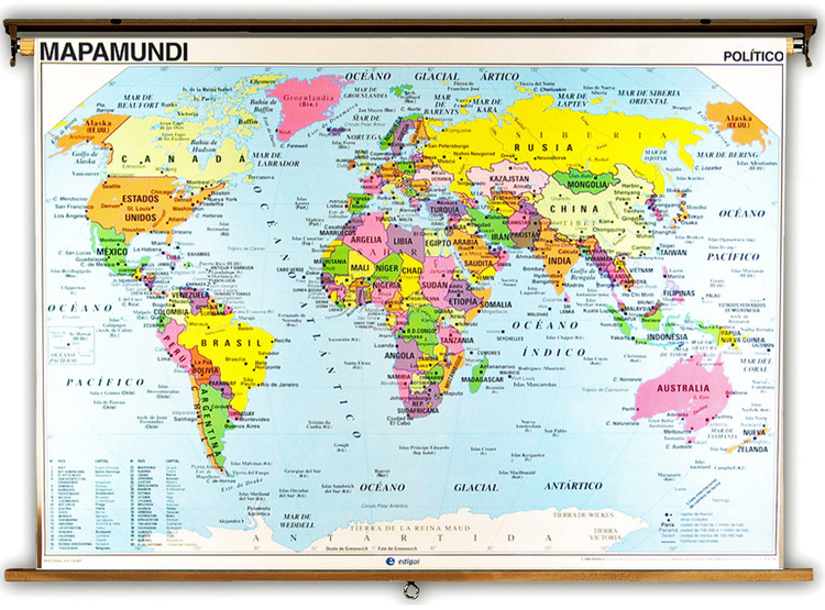Spanish Language World Political & Physical Map from Edigol