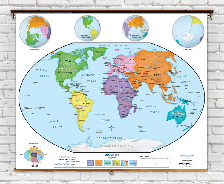 Academia Early Learner Beginner World Classroom Spring Roller Map