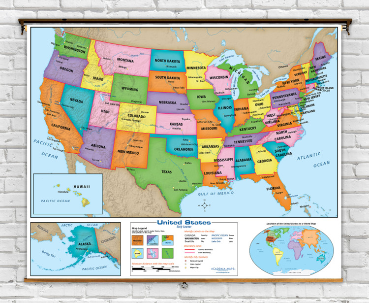 Academia Early Learner Beginner United States Classroom Spring Roller Map