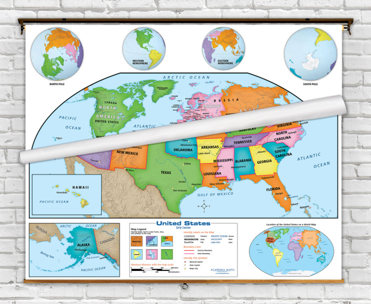 Academia Early Learner Beginner World & U.S. Classroom Spring Roller Map Combo Set