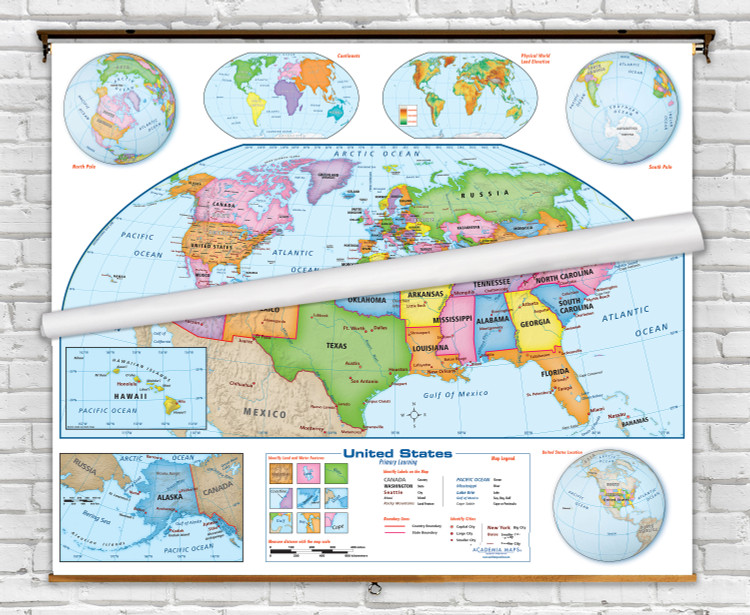 Primary Learning U.S. & World Pull-Down Map Set