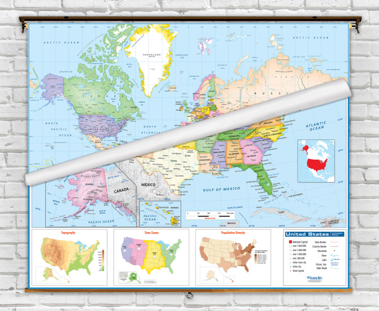 Academia Intermediate Political United States and World Spring Roller Combo Maps