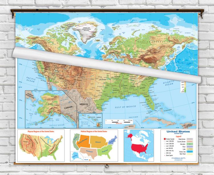 Academia Intermediate Physical United States and World Spring Roller Combo Maps