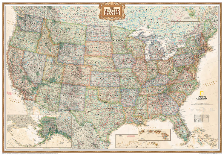 National Geographic United States Executive Wall Map Mural
