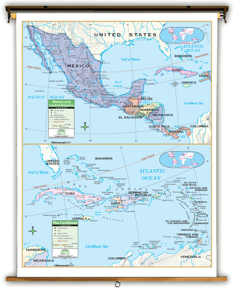 Primary Central America & Caribbean Map on Spring Roller