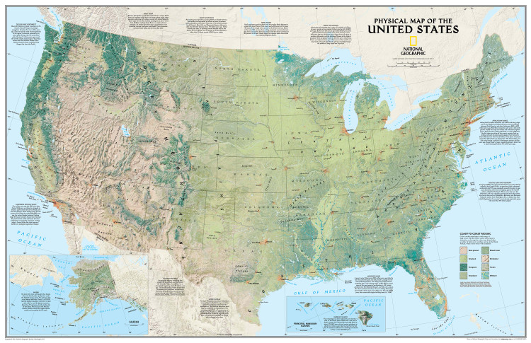 National Geographic United States Physical Wall Map Mural