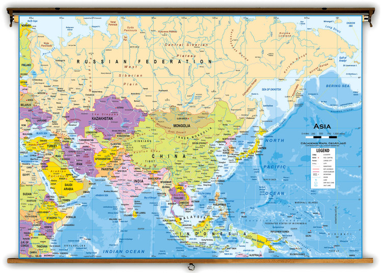 Asia Political Classroom Wall Map from Academia Maps