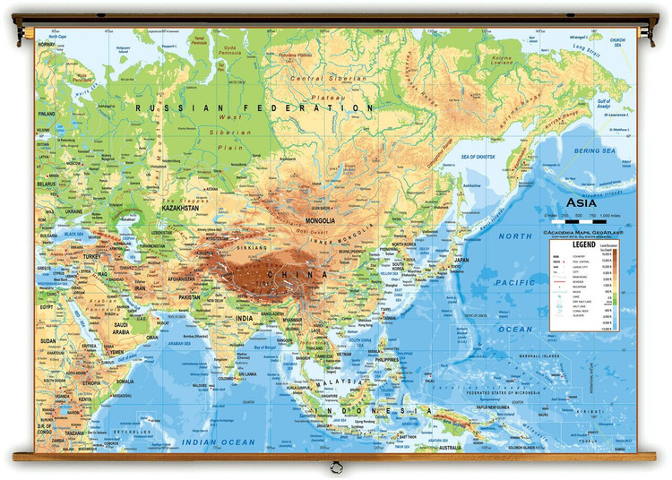 Asia Physical Classroom Wall Map from Academia Maps