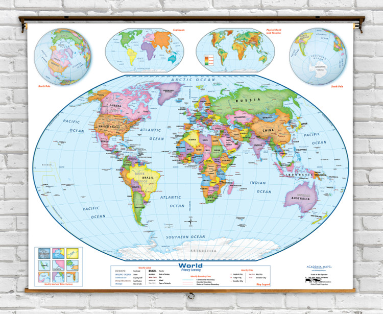 Academia Primary Learning Beginner World Classroom Spring Roller Map