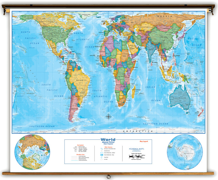Peters Projection Political World Pull-Down Map