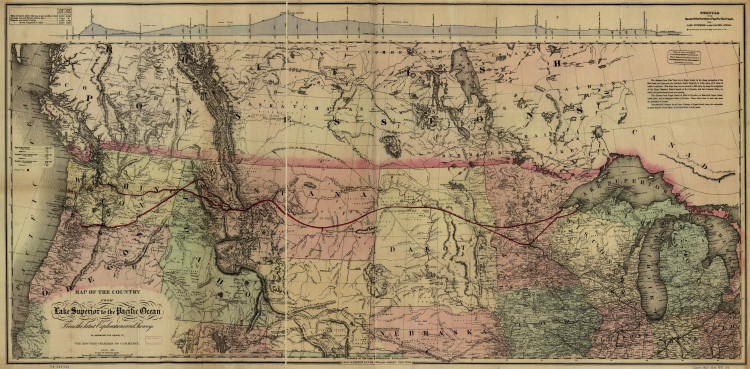 Historic Railroad Map of the United States & Canada - 1868