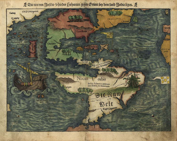 Historic Map - The Americas - 1550