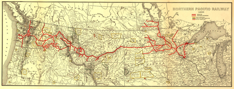 Historic Railroad Map of the United States & Canada - 1900