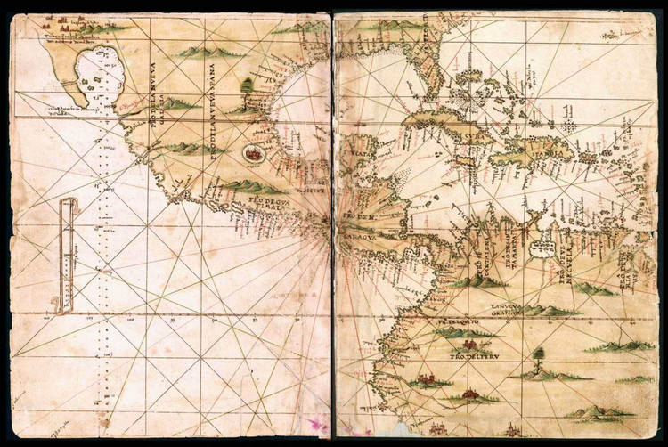Historical Map of North & Central America - General Atlas of All the Islands in the World - 1539