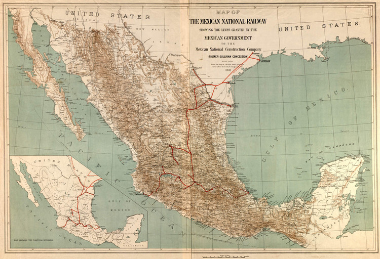 Historic Railroad Map of Mexico - 1881
