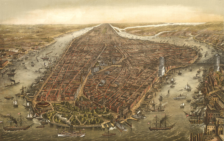 New York City Panoramic - 1873 Wall Map Mural