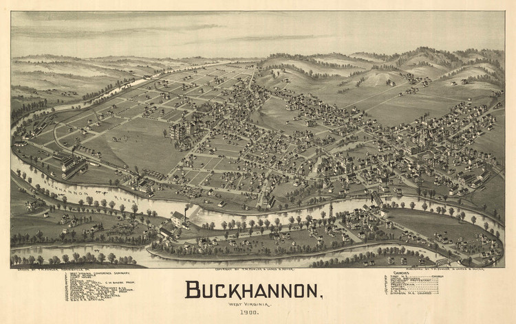 Historic Map - Buckhannon, WV - 1900