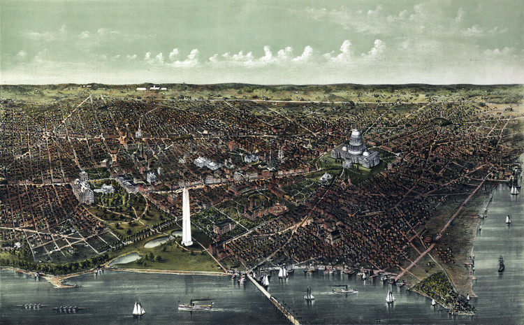 Washington D.C. Birds-eye View - 1892 Wall Map Mural