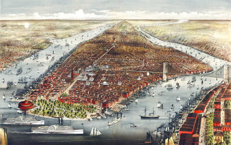 New York City Bird's-eye View - 1876 Wall Map Mural