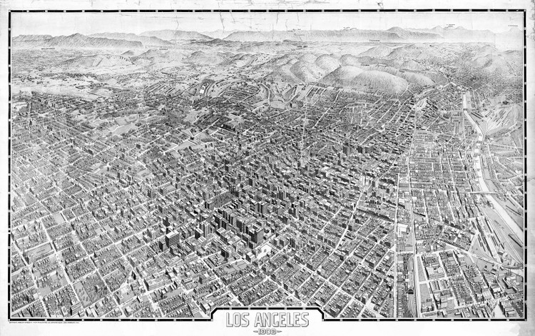 Los Angeles 1909 - Birds-Eye Wall Map Mural - Black & White