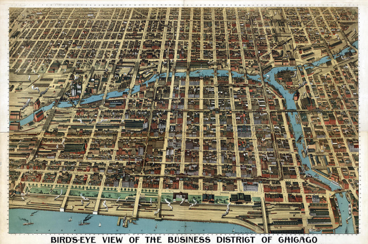Chicago Business District Birds-eye View - 1898 Wall Map Mural