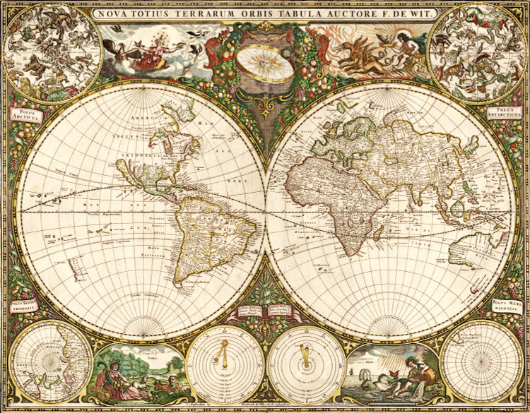 Old World Wall Map Mural - 1660 by Frederick de Wit