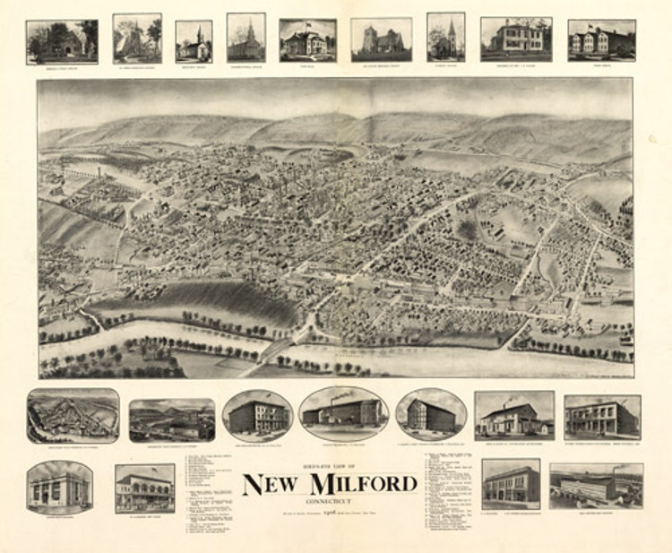 Historic Map - New Milford, CT - 1906