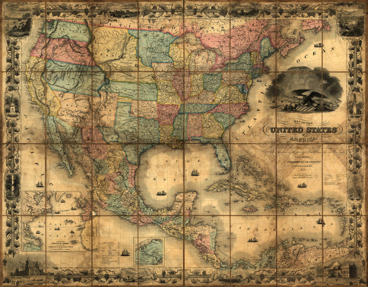 United States & Mexico 1857 - Wall Map Mural