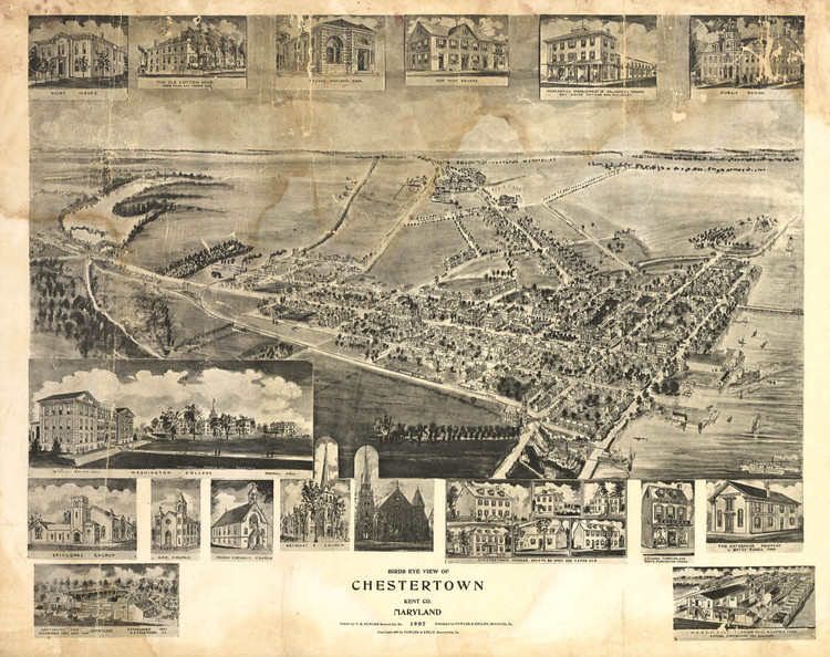 Historic Map - Chestertown, MD - 1907