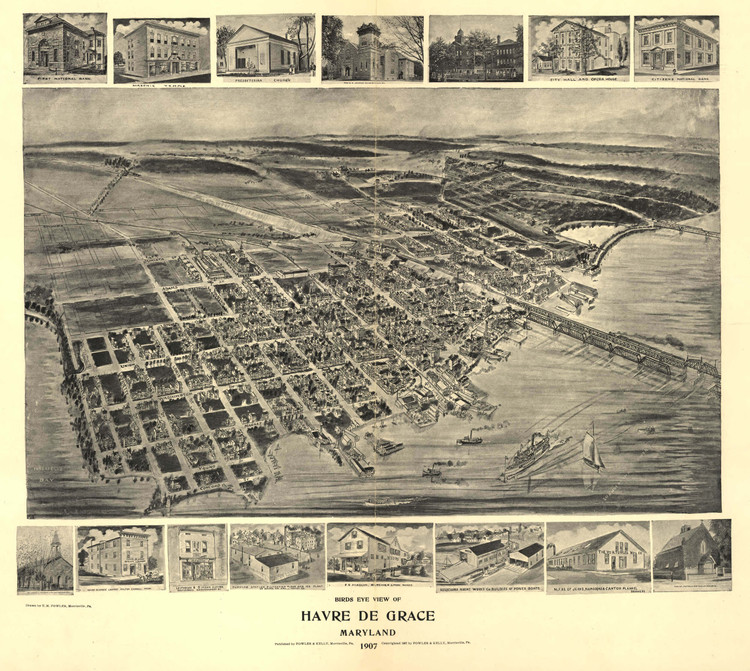 Historic Map - Havre de Grace, MD - 1907