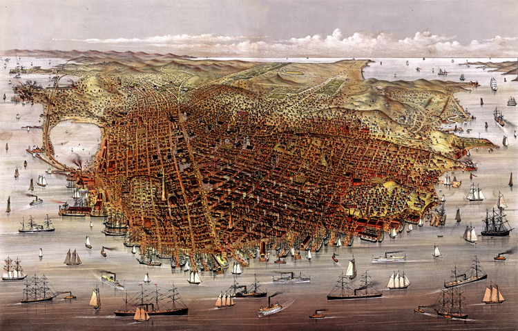 San Francisco Birds-eye View - 1878 Wall Map Mural