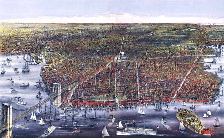 Brooklyn, NY Birds-eye View - 1879 Wall Map Mural