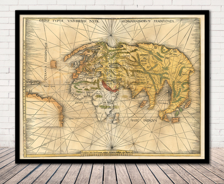 Historical Map of the World - 1513 - Old Waldseemüller Map