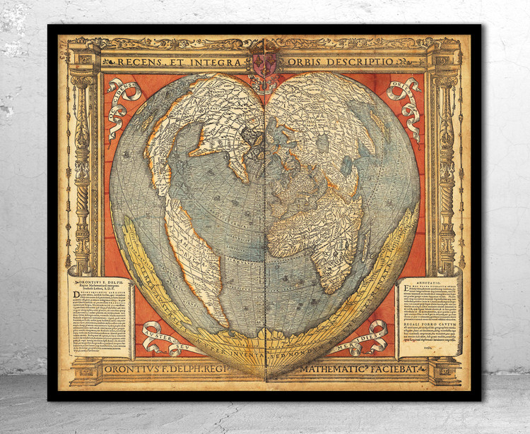 Historical Map of the World - 1534 - Heart Shaped Map