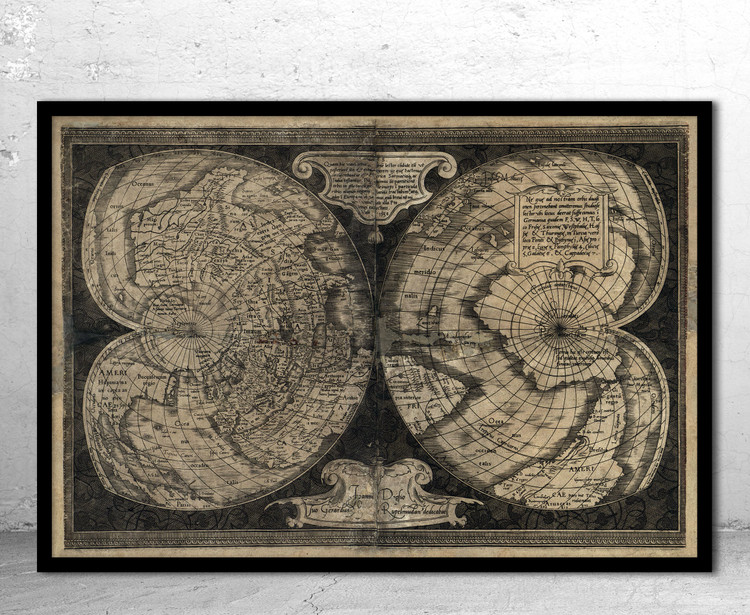 Historical Map of the World - 1538 by Gerhard Mercator