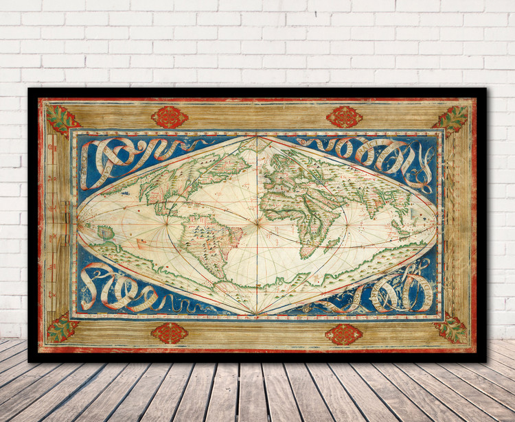 Historical Map of the World - 1570 by Jean Cossin