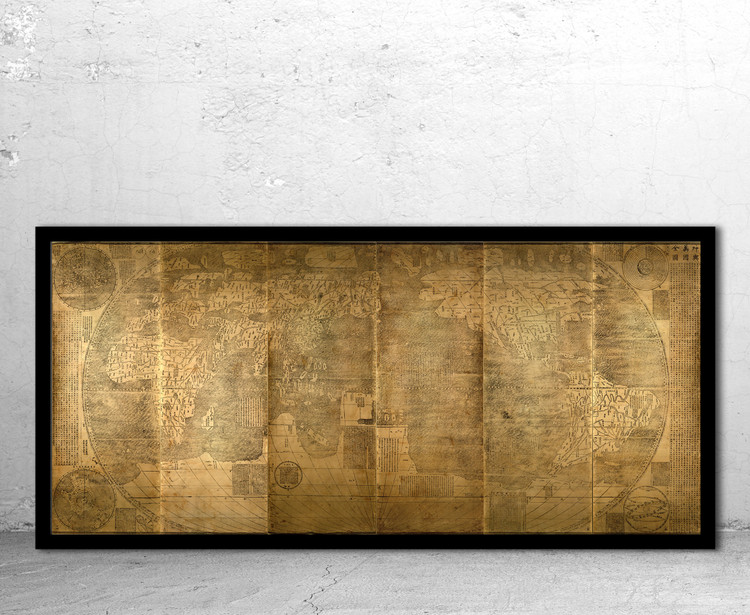 Historical Map of the World - 1602 by Matteo Ricci