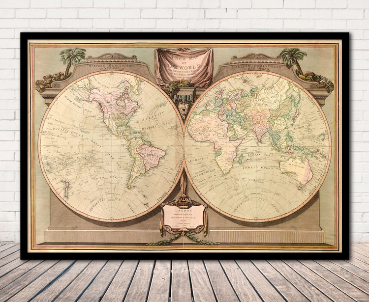 Historical World Map - 1808 - Antique Map Print