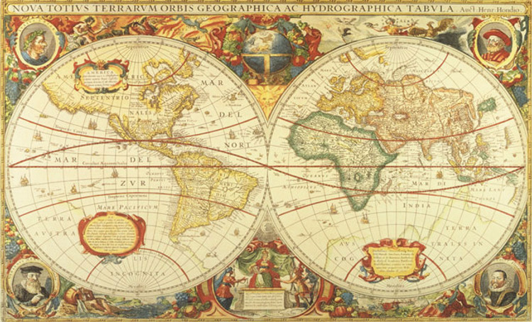 Old World Map Wall Mural by Henricus Hondius - 1630