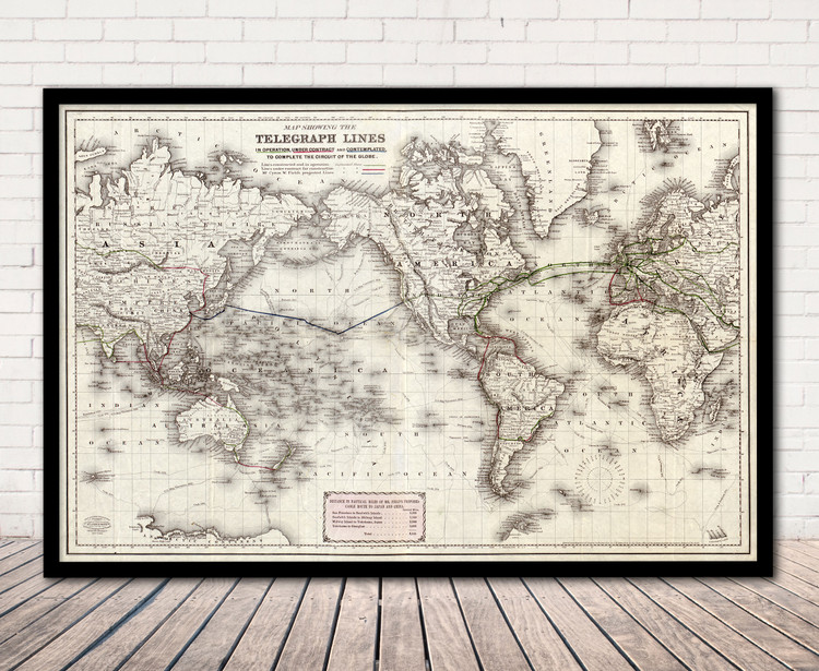 Historical Map of the World Telegraph Lines - 1871