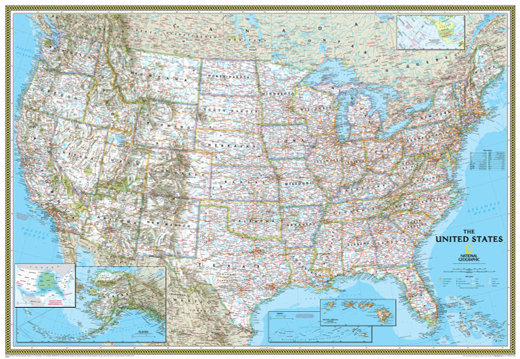 National Geographic United States Classic Political Wall Map