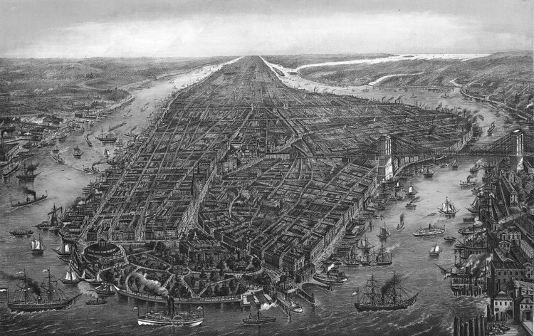 New York City Panoramic - 1873 Wall Map Mural - Black & White