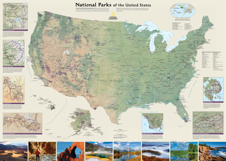 National Geographic United States National Parks Wall Map