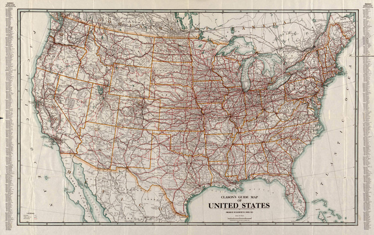 Historic Railroad Map of the United States - 1919