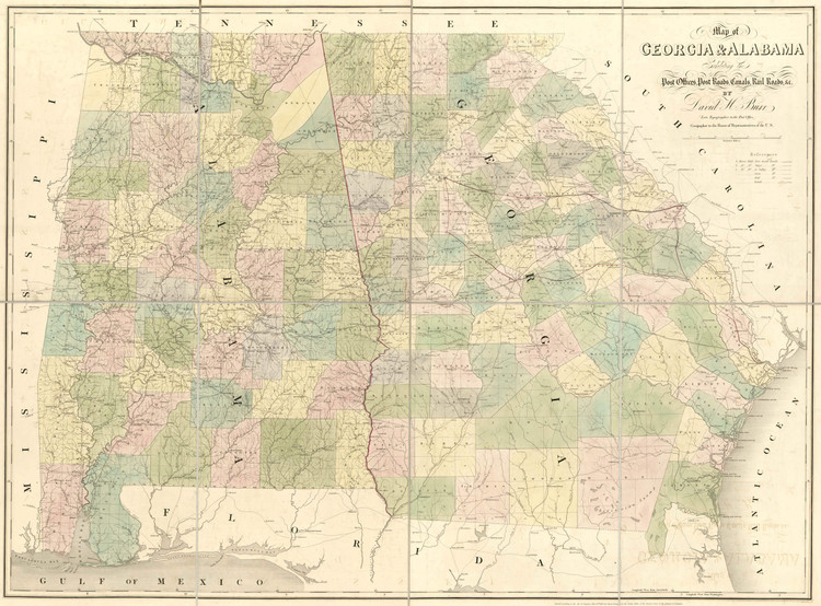 Historic Railroad Map of Georgia and Alabama - 1839