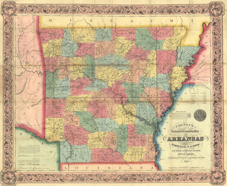 Historic Map - Arkansas - 1854 Map